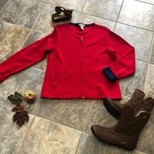 Orvis red zip up sweater w/ navy cuff. Sz medium